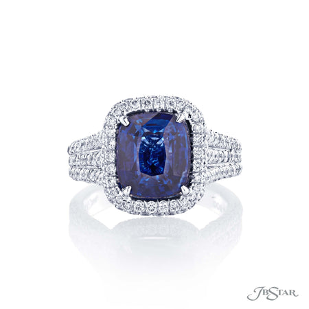 3.98ct Cushion Cut Blue Sapphire and Diamond Ring 1935-007 Fancy Color Top View