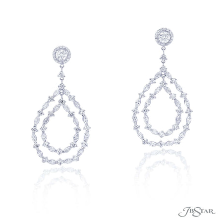 Beautiful diamond drop earrings in a gorgeous hoop design featuring marquise and round diamonds. Handcrafted in pure platinum. [details] Stone Information SHAPE TYPE WEIGHT Round Marquise Diamond Diamond 4.47 ctw. 3.45 ctw. [enddetails] | JB Star 1952-001 Earrings