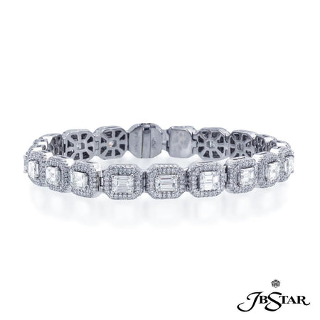 Impeccable diamond bracelet features 20 emerald cut diamonds edged in round diamond pave. Handcrafted in pure platinum. [details] Stone Information SHAPE TYPE WEIGHT Emerald Diamond 8.44 ctw. Round Diamond 2.82 ctw. [enddetails] | JB Star 1964-001 Bracelets
