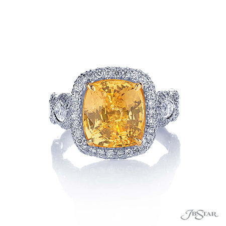 4.98ct Cushion Cut Yellow Sapphire and Diamond Rings 1977-004 Platinum Top View