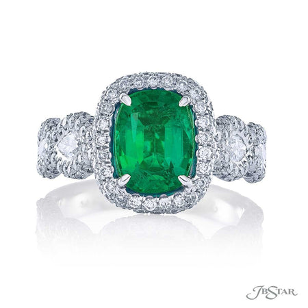 Stunning emerald and diamond ring featuring a 1.93 ct. cushion-cut emerald center accompanied by cascading marquise diamonds in a beautiful micro pave setting. Handcrafted in pure platinum.[details] Center Stone(s) SHAPE TYPE WEIGHT Cushion Emerald 1.93 ct. Stone Information SHAPE TYPE WEIGHT Marquise Diamond 0.44 ctw. Round Diamond 1.01 ctw. [enddetails] | JB Star 1979-012 Precious Color Rings