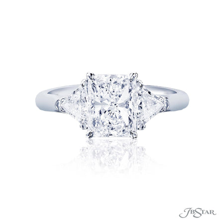 Platinum 1.75 ct Radiant Cut Diamond Engagement Ring with trillion side diamonds