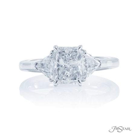 Platinum 1.50 ct Radiant Cut Diamond Engagement Ring with trillion side diamonds