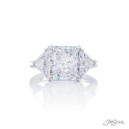 Platinum 5.02 ct Radiant Cut Diamond Engagement Ring with trillion cut side diamonds