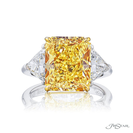 6.02 ct Fancy Yellow Radiant Cut Diamond Engagement Ring in Platinum and 18k Yellow Gold