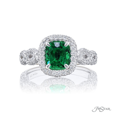 1987-021 | Emerald & Diamond Ring 0.87 ctw Emerald-Cut Micro Pave Front View
