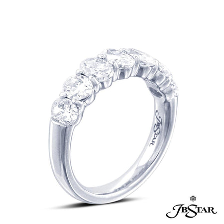 Beautifully designed platinum diamond wedding band featuring 7 perfectly matched oval diamond in a shared prong setting. [details] Stone Information SHAPE TYPE WEIGHT Oval Diamond 2.48 ct. [enddetails] | JB Star 1994-001 Anniversary & Wedding