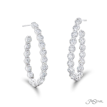 Stunning diamond hoop earrings featuring 30 round diamonds in a shared prong setting. Handcrafted in pure platinum. [details] Stone Information SHAPE TYPE WEIGHT Round Diamond 5.51 ctw. [enddetails] | JB Star 1997-014 Earrings