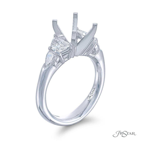 Dazzling semi-mount featuring 2 half-moon and 2 shield diamonds in a shared prong setting. Handcrafted in pure platinum. [details] Stone Information SHAPE TYPE WEIGHT Half Moon Diamond 0.67 ctw. Shield Diamond 0.39 ctw. [enddetails] | JB Star 2000-016 Semi Mount Settings