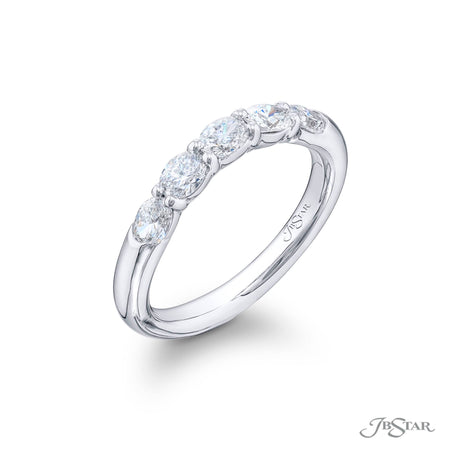 2000-021 | Diamond Wedding Band Oval 0.80 ctw. East to West Design Side View