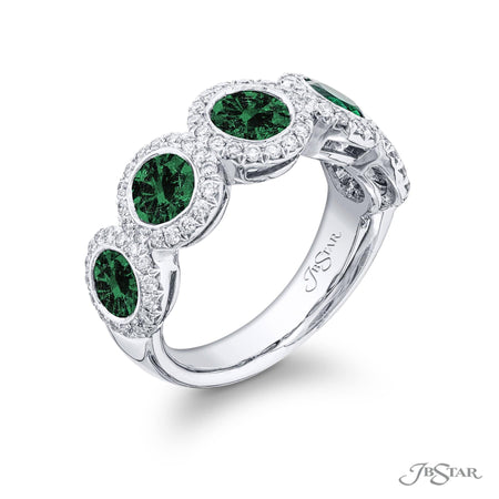 2004-029 | Emerald Wedding Band Round Cut 2.55 ctw. Micro Pave Setting Side View