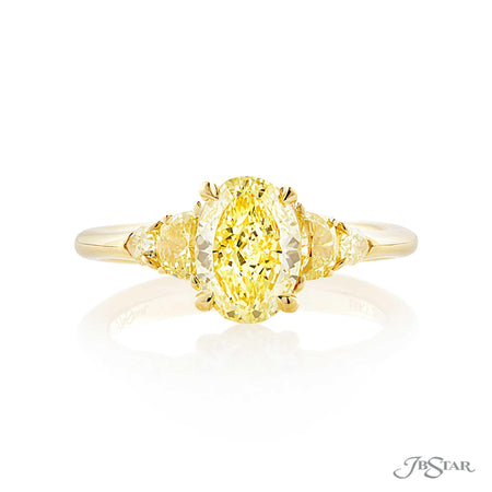 1.24 ct Fancy Yellow Oval Diamond Engagement Ring in Platinum