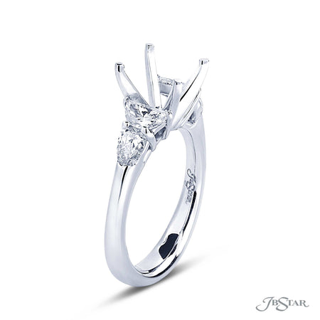 Semi Mount Ring Setting | Shield and Half Moon Cut Diamonds | 2012-036 Side View
