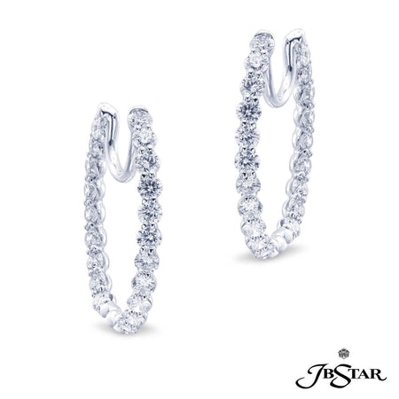 Stunning diamond platinum hoop earrings handcrafted with 42 perfectly matched round diamonds in shared-prong setting. [details] Center Stone(s) SHAPE TYPE WEIGHT Round Cut Diamond 4.25 ct. [enddetails] | JB Star 2021-001 Earrings