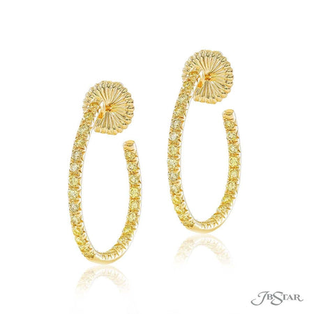 Gorgeous fancy yellow diamond hoop earrings featuring round diamonds in a pave setting. Handcrafted in 18KY gold. [details] Center Stone(s) SHAPE TYPE WEIGHT Round Fancy Yellow Diamond 1.43 ctw. [enddetails] | JB Star 2023-004 Earrings