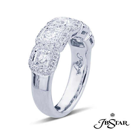 Gorgeous diamond wedding band featuring 5 perfectly matched bezel-set cushion cut diamonds edged in micro pave. Handcrafted in platinum. [details] Stone Information SHAPE TYPE WEIGHT Cushion Round Diamond Diamond 1.70 ctw. 0.34 ctw. [enddetails] | JB Star 2028-039 Anniversary & Wedding