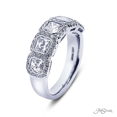 Gorgeous diamond wedding band featuring 5 radiant-cut diamonds in a micro pave bezel setting. Handcrafted in pure platinum. [details] Stone Information SHAPE TYPE WEIGHT Radiant Diamond 1.61 ctw. Round Diamond 0.34 ctw. [enddetails] | JB Star 2028-049 Anniversary & Wedding