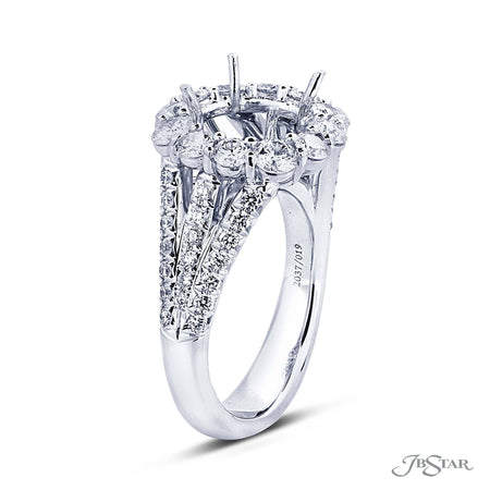 Micro Pave Diamond Halo Semi Mount Ring Setting | 2037-019 Side View
