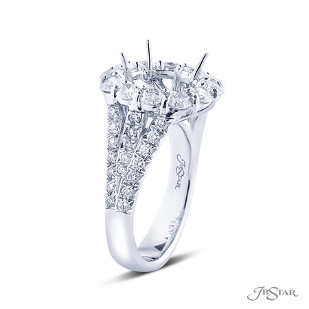 Micro Pave Diamond Halo Semi Mount Ring Setting 2037-022 Split Shank Side View