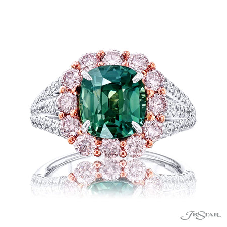 3.05 ct Fancy Yellow Green Cushion Cut Diamond Engagement Ring with Pink Diamond Halo