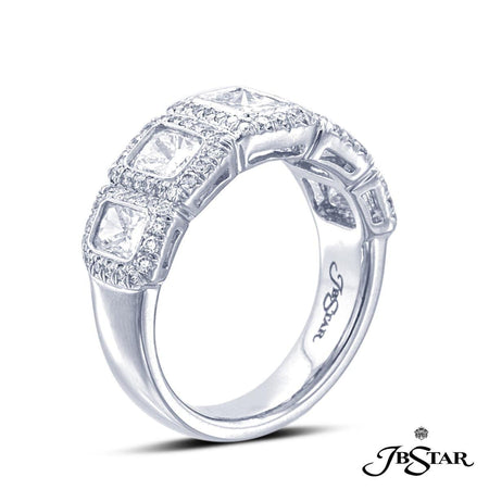 Platinum diamond wedding band in a stunning design of five bezel-set radiant-cut diamonds, each edged in micro pave. [details] Stone Information SHAPE TYPE WEIGHT Radiant Round Diamond Diamond 2.33 ct. 0.47 ct. [enddetails] | JB Star 2043-011 Anniversary & Wedding
