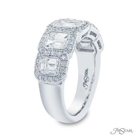 Dazzling diamond wedding band featuring 5 emerald-cut diamonds in a micro pave bezel-setting. Handcrafted in pure platinum. [details] Stone Information SHAPE TYPE WEIGHT Emerald Round Diamond Diamond 2.66 ctw. 0.50 ctw. [enddetails] | JB Star 2043-013 Anniversary & Wedding