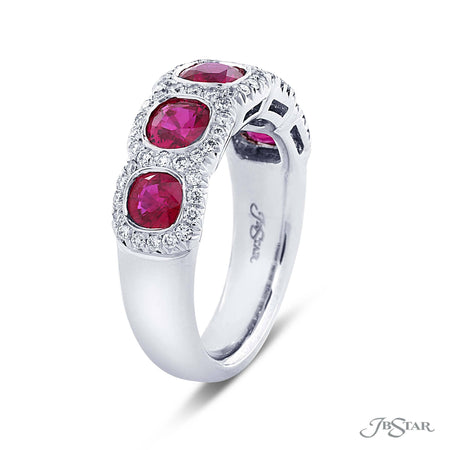 Stunning ruby and diamond band featuring 5 cushion cut rubies in a bezel setting of micro pave. Handcrafted in pure platinum. [details] Stone Information SHAPE TYPE WEIGHT Cushion Round Ruby Diamond 2.10 ctw. 0.45 ctw. [enddetails] | JB Star 2044-013 Anniversary & Wedding