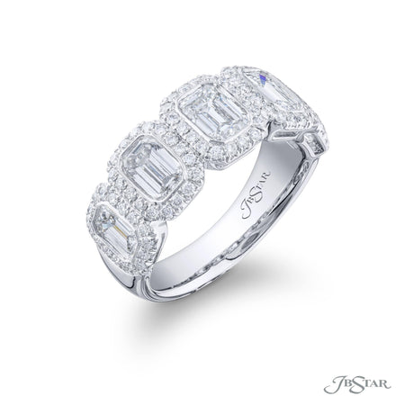 2051-015 | Diamond Wedding Band Emerald-cut Bezel Set & Micro Pave Side View