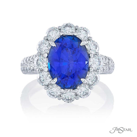 4.19 ct Oval Blue Sapphire and Diamond Precious Color Ring | 2055-004 Top View