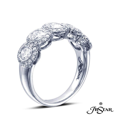Diamond band handcrafted with 5 perfectly matched, bezel-set, oval diamonds, each encircled with diamond pave and set in platinum. [details] Stone Information SHAPE TYPE WEIGHT Oval Round Diamond Diamond 1.21 ctw. 0.40 ctw. [enddetails] | JB Star 2068-003 Anniversary & Wedding