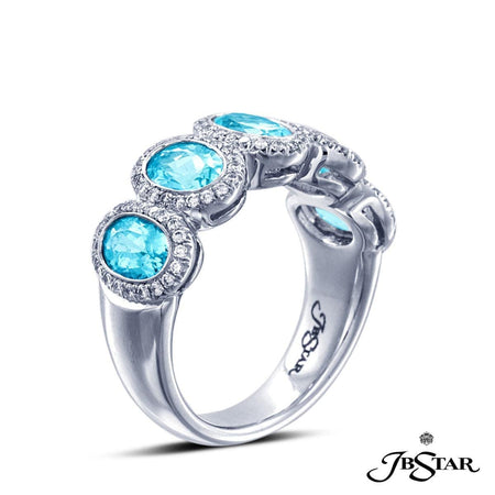 Gorgeous paraiba and diamond platinum band handcrafted with 5 perfectly matched oval paraibas, each encircled with micro pave. [details] Center Stone(s) SHAPE TYPE WEIGHT Oval Paraiba 2.33 ctw. Stone Information SHAPE TYPE WEIGHT Round Diamond 0.35 ctw. [enddetails] | JB Star 2073-020 Anniversary & Wedding