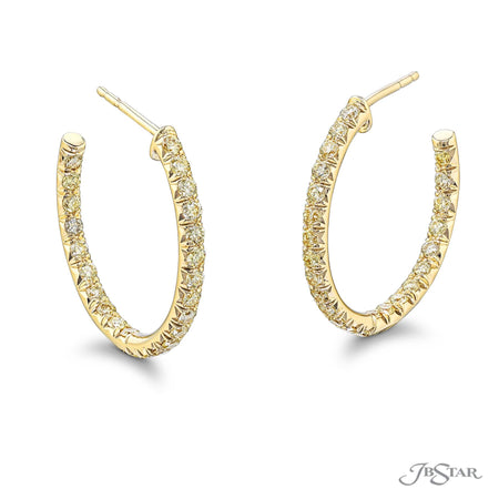 2097-002 | Fancy Yellow Diamond Hoop Earrings Round Cut 18KY Gold