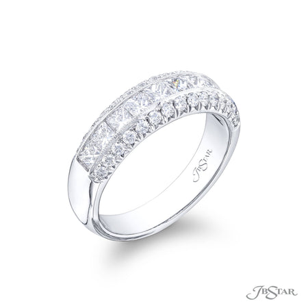 2103-004 | Diamond Wedding Band Princess Cut Center Channel 1.33 ctw. Side View