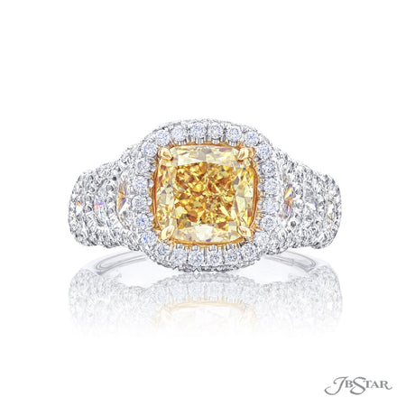 2120-003 | Fancy Yellow Diamond Engagement Ring 2.09 ct. Cushion-Cut Front View