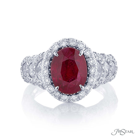 Magnificent ruby and diamond ring featuring a 4.02 ct. certified Burmese oval ruby, in a stunning setting of half moon and pave diamonds. Handcrafted in platinum. [details] Center Stone(s) SHAPE TYPE WEIGHT Oval Burma Ruby 4.02 ct. Notes: GRS Stone Information SHAPE TYPE WEIGHT Half Moon Round Diamond Diamond 1.24 ctw. 1.03 ctw. [enddetails] | JB Star 2120-011 Precious Color Rings
