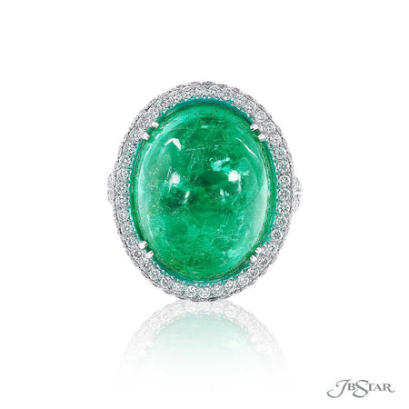 Magnificent emerald and diamond ring featuring a stunning 19.37 ct. GIA certified oval Colombian emerald. Handcrafted in pure platinum. [details] Center Stone(s) SHAPE TYPE WEIGHT Oval Emerald 19.37 ct. Notes: GIA Stone Information SHAPE TYPE WEIGHT Round Diamond 1.05 ctw. [enddetails] | JB Star 2123-003 Precious Color Rings