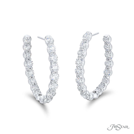 Stunning diamond hoop earrings featuring 36 round diamonds in a shared prong setting. Handcrafted in pure platinum. [details] Stone Information SHAPE TYPE WEIGHT Round Diamond 7.06 ctw. [enddetails] | JB Star 2125-005 Earrings