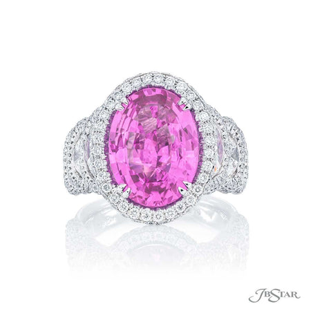 Gorgeous pink sapphire and diamond ring featuring a spectacular 5.74 ct. certified Sri Lankan