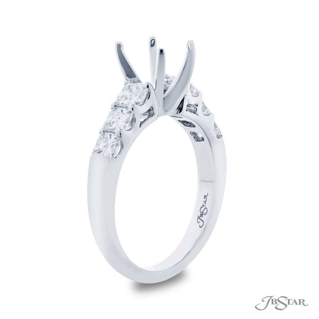 Gorgeous diamond semi-mount featuring 6 radiant-cut diamonds in a shared prong setting. Handcrafted in pure platinum. [details] Stone Information SHAPE TYPE WEIGHT Radiant Diamond 1.04 ctw. [enddetails] | JB Star 2132-009 Semi Mount Settings