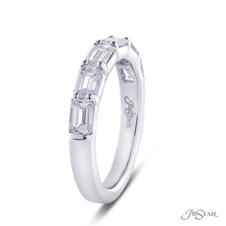 Stunning diamond wedding band featuring 6 perfectly matched emerald cut diamonds in an east to west design. Handcrafted in a pure platinum shared prong setting. [details] Stone Information SHAPE TYPE WEIGHT Emerald Diamond 1.50 ctw. [enddetails] | JB Star 2134-012 Anniversary & Wedding