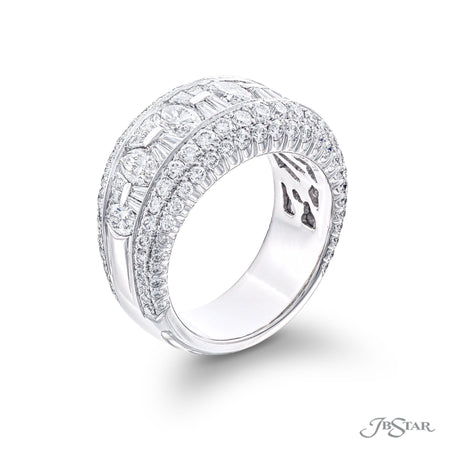 Beautiful diamond band handcrafted of 5 marquise diamonds plus tapered baguettes set in a channel with millegrain-edge pave. [details] Stone Information SHAPE TYPE WEIGHT Marquise Round Tapered Baguette Diamond Diamond Diamond 1.54 ctw. 1.24 ctw. 0.64 ctw. [enddetails] | JB Star 2144-011 Anniversary & Wedding