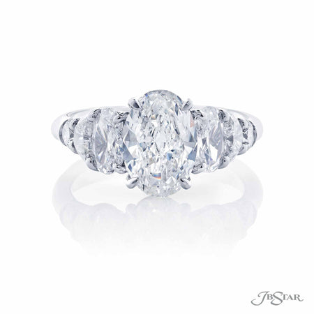 Platinum 1.70 ct Oval Diamond Ring with oval, half moon and round accent diamonds