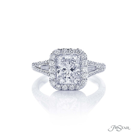 Platinum Micro Pave 2.02 Radiant Cut Diamond Engagement Ring, baguette accent diamonds
