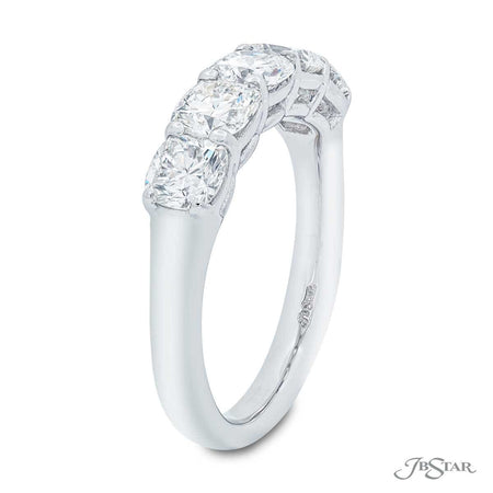 Dazzling diamond wedding band featuring 5 perfectly matched cushion-cut diamonds in a beautiful gallery design. Handcrafted in pure platinum. [details] Stone Information SHAPE TYPE WEIGHT Cushion Diamond 1.85 ctw. [enddetails] | JB Star 2179-001 Anniversary & Wedding
