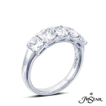 Stunning platinum and diamond wedding band featuring 5 graduating radiant-cut diamonds in a shared prong setting. [details] Stone Information SHAPE TYPE WEIGHT Radiant Diamond 2.66 ct. [enddetails] | JB Star 2195-009 Anniversary & Wedding