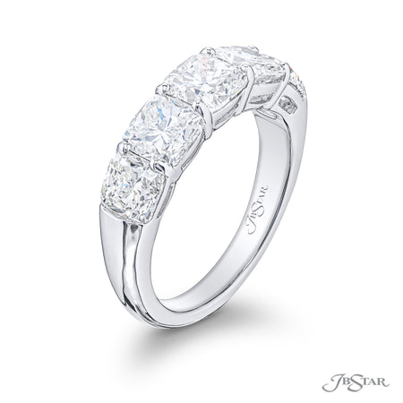 2208-020 | Diamond Wedding Band Cushion Cut Shared Prong 4.23 ctw Side View