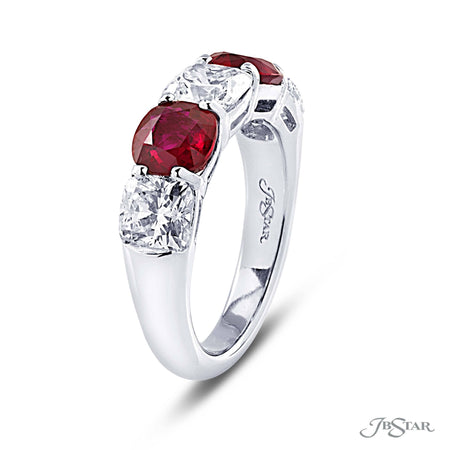 Dazzling ruby and diamond band featuring 3 cushion cut diamonds and 2 cushion cut rubies in an alternating shared prong design. Handcrafted in pure platinum. [details] Center Stone(s) SHAPE TYPE WEIGHT Cushion Cushion Diamond Ruby 2.15 ctw. 2.07 ctw. [enddetails] | JB Star 2208-025 Anniversary & Wedding