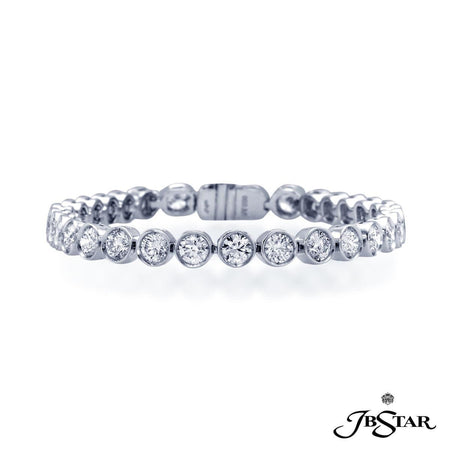 Diamond bracelet in a classic straight line style with 32 round diamonds bezel set in platinum. [details] Center Stone(s) SHAPE TYPE WEIGHT Round Cut Diamond 9.16 ct. [enddetails] | JB Star 2212-002 Bracelets