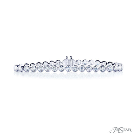 Stunning diamond bracelet featuring 36 round diamonds in a bezel-setting, handcrafted in pure platinum. [details] Stone Information SHAPE TYPE WEIGHT Round Diamond 8.36 ctw. [enddetails] | JB Star 2220-003 Bracelets