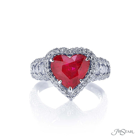 Stunning ruby and diamond ring featuring a 3.25 ct. certified vivid heart-shaped ruby with round diamonds on the shank with micro pave. Handcrafted in pure platinum. [details] Center Stone(s) SHAPE TYPE WEIGHT Heart Ruby 3.25 ct. Notes: CDC Stone Information SHAPE TYPE WEIGHT Round Diamond 1.92 ctw. [enddetails] | JB Star 2247-018 Precious Color Rings